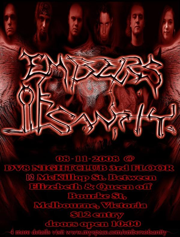 Embers of Sanity - 8th of November at DV8 Nightclub.